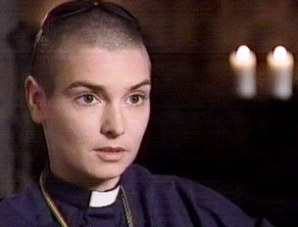 Sinead O'Connor in her priest outfit
