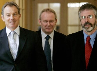 Blair with McGuinness and Adams leaving Downing St in 2005