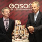 Former Prime Minister Tony Blair, right, attends his first book signing, with Conor Whelen, Managing Director of Eason's bookstore on O'Connell St, Dublin.