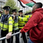 Gardai clash with protesters as former Prime Minister Tony Blair, attends his first book signing, at Eason's on O'Connell St, Dublin.
