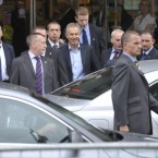 Tony Blair emerges from Eason's bookstore on O'Connell Street in Dublin, Ireland to the sound of chanting protesters as they demonstrate against his book signing in Dublin.