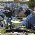 After: The last campers pack up their tents at the Electric Picnic Festival. 