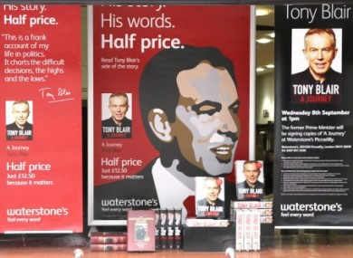 The Waterstone's book store window in Picadilly where Blair was due to sign books this week.