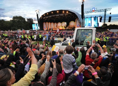 Pope Benedict XVI arrives for a Prayer Vigil at Hyde Park in London yesterday evening
