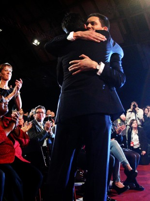 Brothers Ed and David Miliband hug as Ed Miliband wins the Labour Party Leadership contest