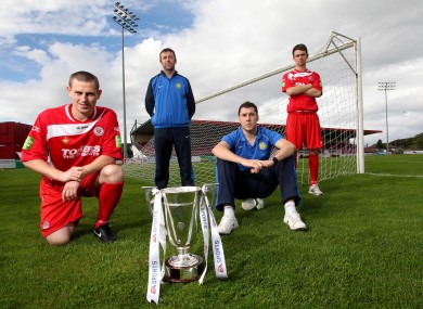 Sligo Rovers' Danny Ventre and John Dillon with Don Tierney and Brian Gartland of Monaghan United