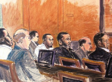 In this courtroom sketch, defendants Onta Williams, left, Laguerre Payen, center in white shirt, David Williams, third from right, and James Cromitie, right, sit with their attorneys in federal court Monday, June 14, 2010.