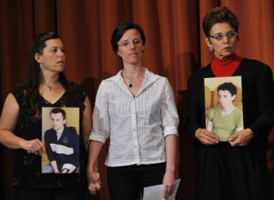 Released Sarah Shourd, centre, with Shane Bauer's mother (left) and Josh Fattal's mother on 19 September, 2010.