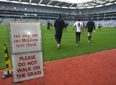 The Australian players take to the pitch for training at Croke Park this morning.