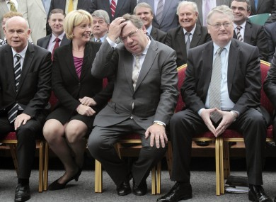 Backbench TDs look on as Brian Cowen prepares to apologise for the 'garglegate' affair in September. Finance minister Brian Lenihan has been seen in 