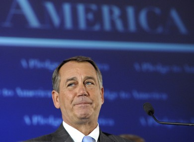 Speaker-designate of the US House of Representatives, John Boehner, tears up as he addresses crowds in Washington after last night's election results.