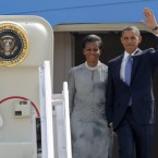 President Barack Obama and first lady Michelle Obama arrive in Mumbai, India, today. (AP Photo/Charles Dharapak)