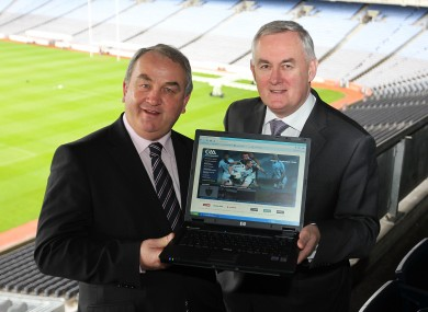 GAA president Christy Cooney (right) and his predecessor Nickey Brennan (left): the GAA has received a full apology from Servasport, a Tyrone-based company whose systems were breached.