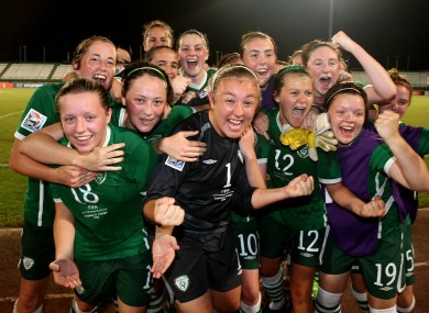 Ireland U-17 women celebrate quailifying for the quarter finals at the World Cup in Trinidad and Tobago.