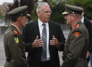 Minister Tony Killeen, centre, photographed at the removal service for former Chief of Staff of the Irish Defence Forces Dermot Early in June, 2010.