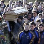 The coffin of Michaela McAreavey approaches the church in which she was married just over two weeks ago in Co Tyrone.