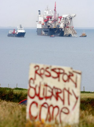 A pipe-laying vessel off the Irish coast in Broadhaven Bay to work on the Corrib pipeline in June 2009.