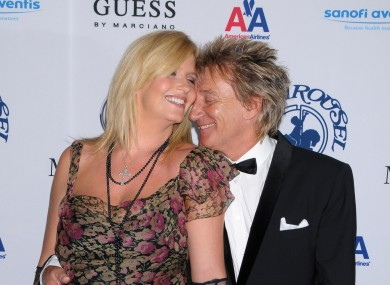 Rod Stewart, Penny Lancaster and bump in October of last year. Lancaster gave birth to the couple's second son, Aiden, yesterday.