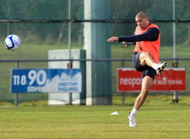 Jon Walters during squad training yesterday.