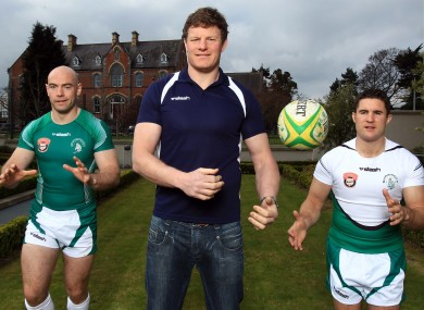 Shamrock Warriors' captain Hugh Hogan, former Ireland and Leinster player Malcolm O'Kelly and Simon Keogh at yesterday's launch..