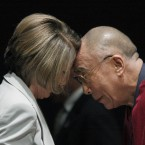 US congresswoman and former speaker Nancy Pelosi touches heads with the Dalai Lama, who received the first Lantos Human Rights Prize in October 2009, on Capitol Hill in Washington. 
