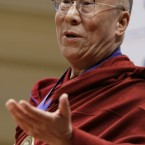 The Dalai Lama speaks at the Library of Congress in Washington in February 2010, where he was honored by the National Endowment for Democracy with the Democracy Service Medal. 