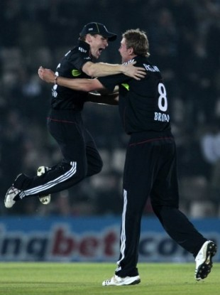Morgan (left) celebrates with Broad following victory over Pakistan in September 2010.