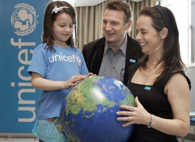 Liam Neeson, Melanie Verwoerd and friend announce Neeson's new role as a Unicef global ambassador