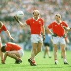 The Cork team look on as Dave Barry prepares to take a free-kick in the 1989 All-Ireland semi-final at Croke Park.