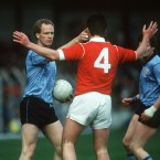 A break in play during the 1989 National Football League final allows Dublin's Barney Rock to remind Jimmy Kerrigan that he's got him under his thumb.