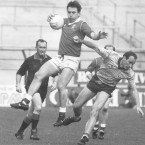 Jimmy Kerrigan beats Dublin's Tommy Carr to the ball in the 1989 National Football League final.