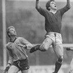 Cork's Barry Coffrey rises ahead of Timmy O'Driscoll to claim possession in the 1987 National Football League quarter-final.