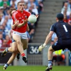 Daniel Goulding throws the ball past Stephen Cluxton in last year's All-Ireland semi-final but his effort is rightly ruled out by the umpires.