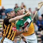 Kilkenny's Brian Hogan and Offaly's Joe Bergin clash last Sunday.