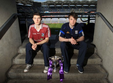 Captains Colin Forde of Galway and Georaid McKiernan of Cavan at Croke Park. 