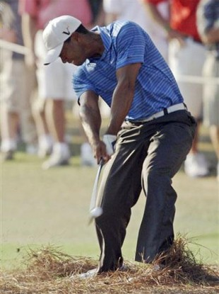 Tiger Woods: injured his knee at The Masters.