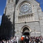 The funeral of former Taoiseach Dr. Garret FitzGerald takes place at the Sacred Heart Church in Donnybrook, Dublin.