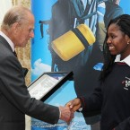 The Duke of Edinburgh meets Chiadika Uzor a student at St Dominic's College, Navan Road, Dublin. (Maxwells)