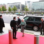 The Queen and Prince Philip meet the British ambassador, Julian King, at the Convention Centre ahead of a music and fashion show this evening. (Maxwells)