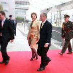 President Mary McAleese and Dr Martin McAleese arrive at the convention centre. (Maxwells)