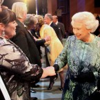 The Queen meets X Factor finalist Mary Byrne after she performed at tonight's event. Byrne asked Her Majesty if she was an X Factor fan. She said she wasn't. (Maxwells)
