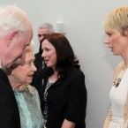 Pat Hickey of the Olympic Council of Ireland introduces the Queen to Olympic hurdler Derval O'Rourke. (Photocall Ireland)