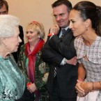 TV host Lorraine Keane meets Her Majesty at this evening's event in the Convention Centre, as her husband Peter Devlin and journalist Mary Kenny look on.