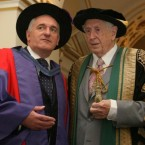 Dr Garrett FitzGerald pictured with Taoiseach Bertie Ahern as Ahern collects an honorary doctorate in 2006. (Niall Carson/PA)