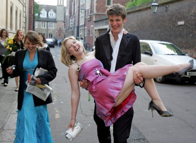 Cambridge students make their way home from a college ball in 2009