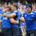 Fergus McFadden celebrates with Brian O'Driscoll following the centre's second-half try against Toulouse in the Heineken Cup semi-final.