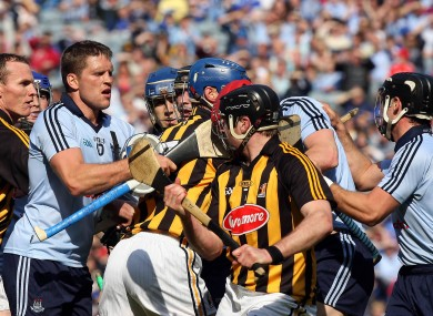 Tempers flare at the half-time whistle in the Allianz National Hurling League decider.