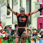 Marcin Bialoblocki of the Britain Motorpoint team wins today's stage.