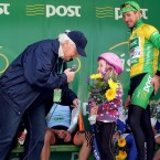 Ray Kennedy interviews Joley Power from Tramore who received a bouquet from the Race leader Gediminas Bagdonas of the An Post Sean Kelly team.