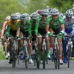 The An Post Sean Kelly Team, led by Mark Cassidy, ride at the front of the bunch to chase down a breakaway group.